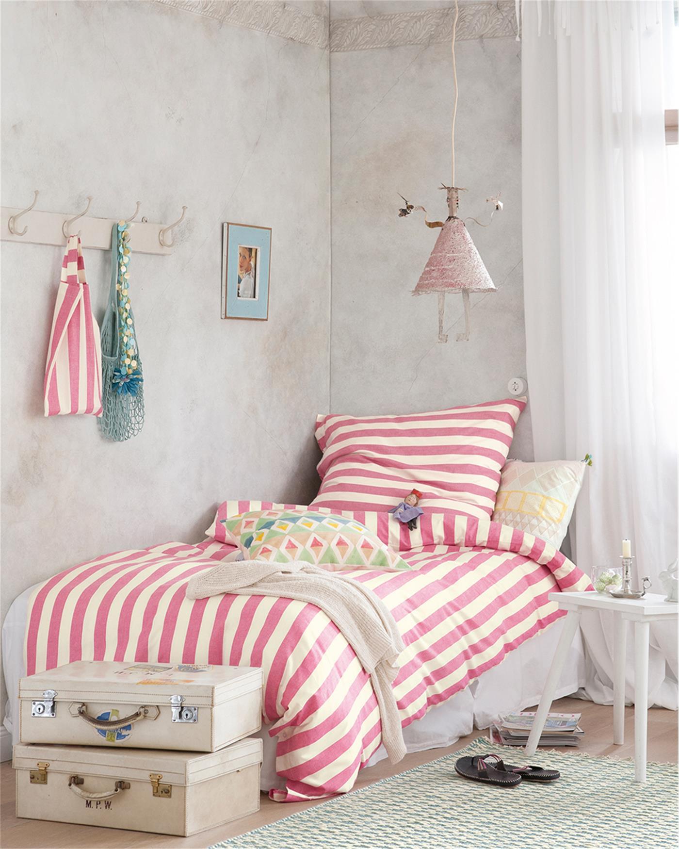 Bettwäsche Pink Weiß Gestreift