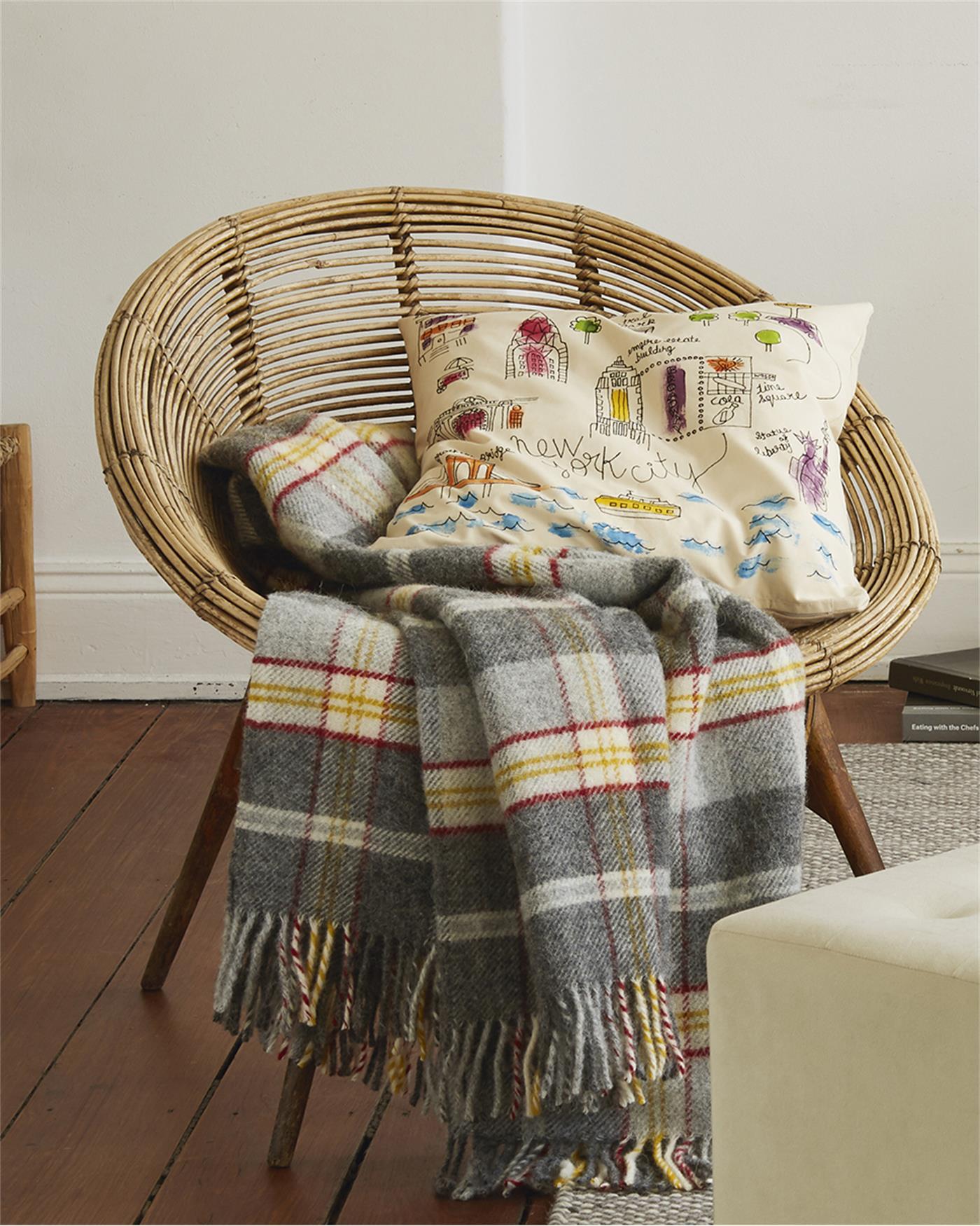 plaid gelb grau rot kariert. Black Bedroom Furniture Sets. Home Design Ideas