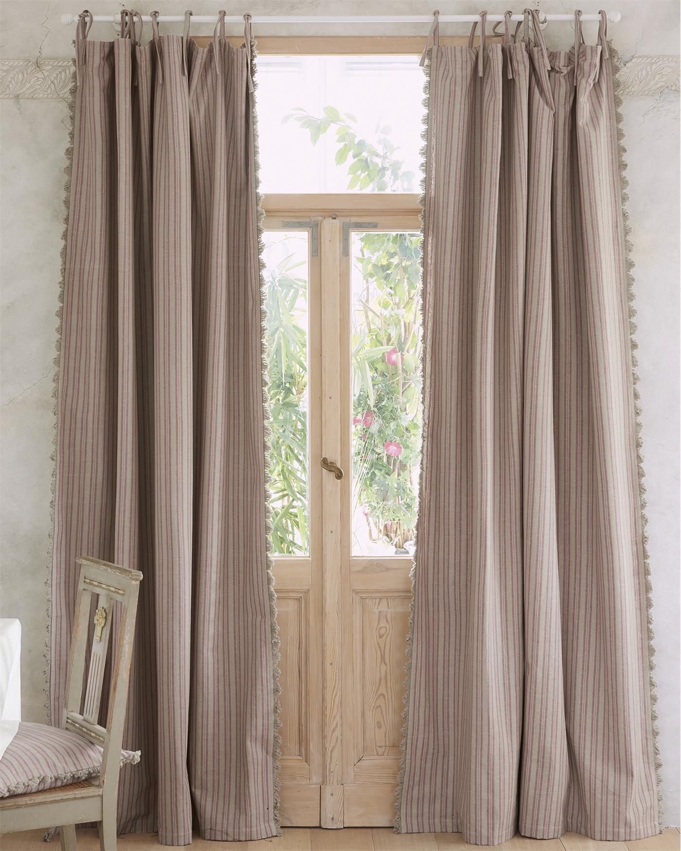 streifenvorhang beige rosa mit fransenborte. Black Bedroom Furniture Sets. Home Design Ideas
