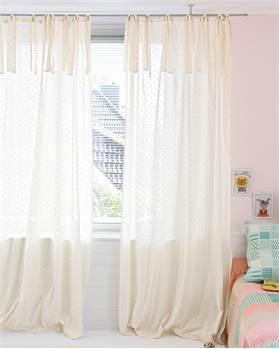 Vorhang Elfenbein mit rosa Pünktchen