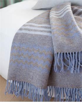 Wolldecke blau-grau