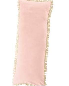 Samtkissen mit Fransen rosa