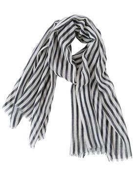 Wollschal grau-schwarz gestreift