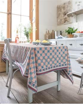 Tischdecke blau-rosa