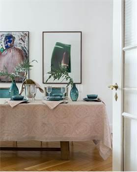 Tischdecke, natur, rosa