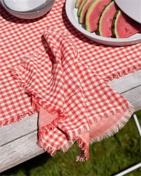 Tischset rot-weiß kariert
