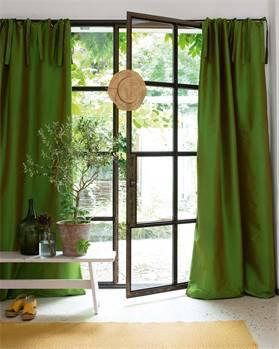 Vorhang grün, Faux-Silk