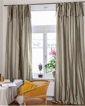 Faux-Silk Vorhang, grau, Streifen