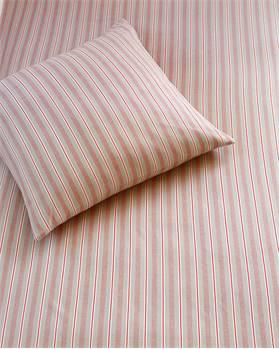 Streifenbettwäsche grau-rot-weiss, Baumwolle