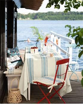 Tischdecke blau-weiß