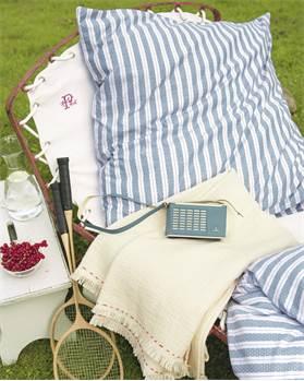 Bettwäsche, Streifen, weiß, blau, weiche Baumwolle
