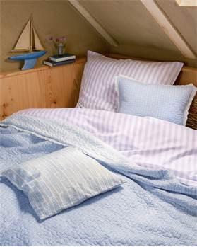 Bettwäsche, Streifen, lila, weiß, Baumwolle