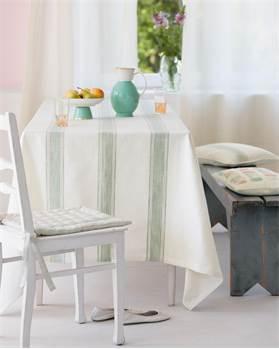 Tischdecke mit Blockstreifen weiß-mint