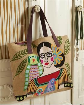 Große Tasche Frida, bestickt, Baumwolle, Jute