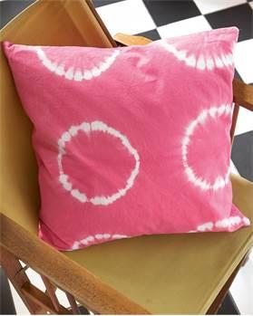 Kissenhülle Batik-Kreis pink