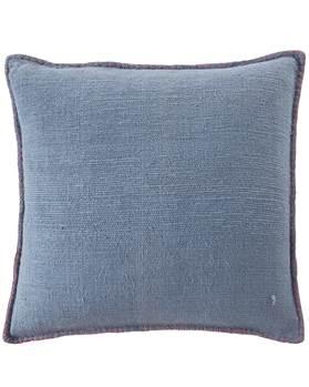 Kissenhülle, blau, pinker Keder, weiche Baumwolle