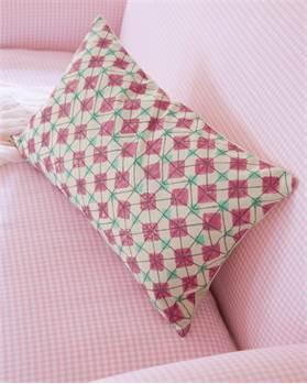 Kissenhülle Gittermuster creme-rosa