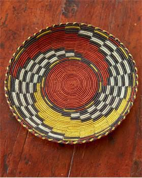 Korbschale Wirbel rot-gelb