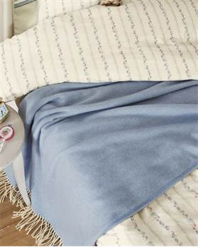 Plaid blau mit Fransen, Baumwolle