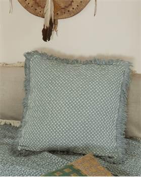 Kissenhülle mit Fransen, mattgrün, Baumwolle