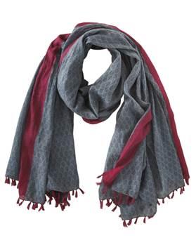 Schal, blau, rot, weiche Baumwolle