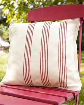 Kissenhülle Streifen weiß-rot