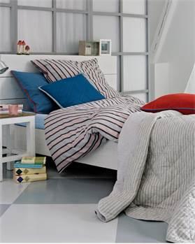 Bettwäsche Streifen, rot-schwarz-grau