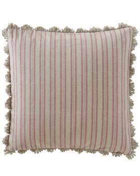 Kissenhülle, Streifen, beige, rosa, weiche Baumwolle