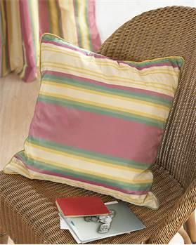 Faux Silk-Streifenkissenhülle pink-grün