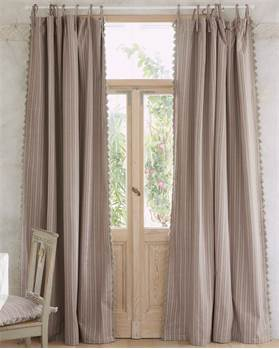 Vorhang, Striefen, beige, rosa, Baumwolle