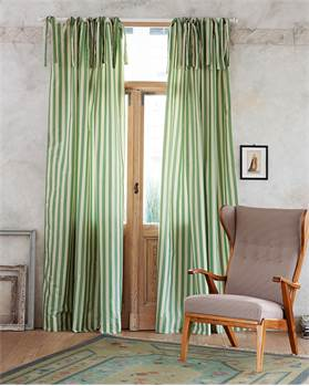 Streifenvorhang blaßgrün-creme