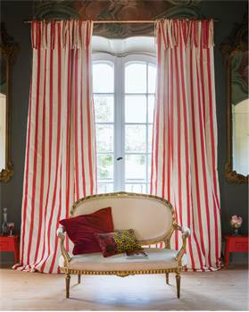 Streifenvorhang rot-creme, Faux Silk