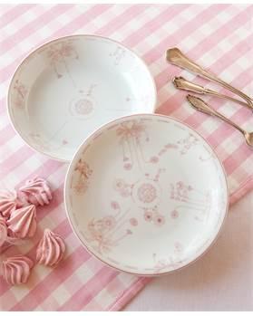 Teller-Set rosa