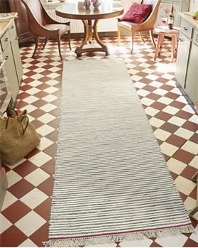 Teppichläufer roter Rand, Wolle, Baumwolle