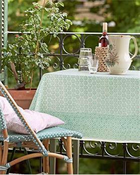Tischdecke Janna Grün Baumwolle Handstempeldruck