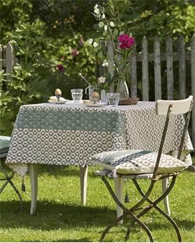 Tischdecke, grün, grau, Handstempeldruck, weiche Baumwolle