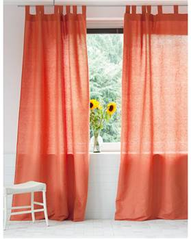 Vorhang Halbleinen orangerot