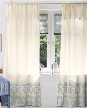 Vorhang, ecru, blau, Baumwolle
