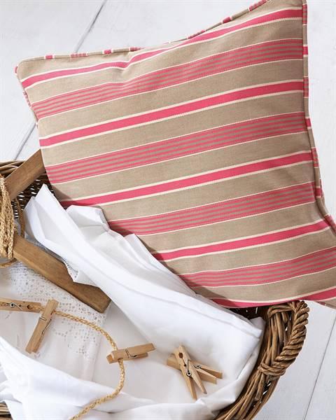 Streifenkissenhülle beige-pink
