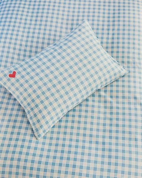 Kinderbettwäsche blau kariert