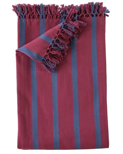 Tagesdecke Streifen bordeauxrot-blau