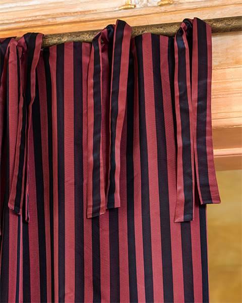 Streifenvorhang granatrot-schwarz, Faux-Silk