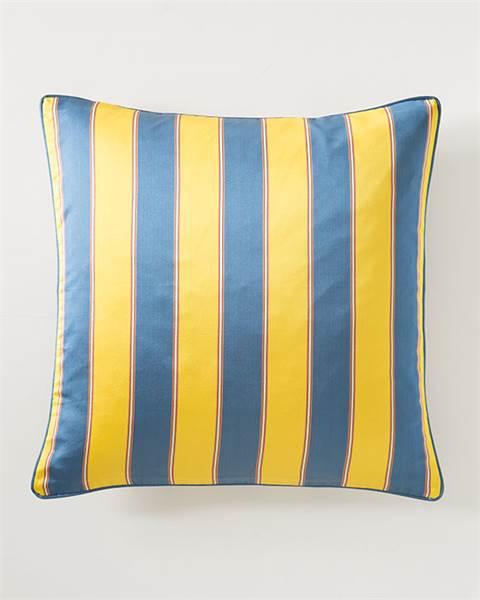 Steifenkissenhülle blau-gelb
