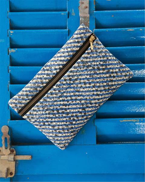 Etuitasche blau bedruckt, 28 x 18cm