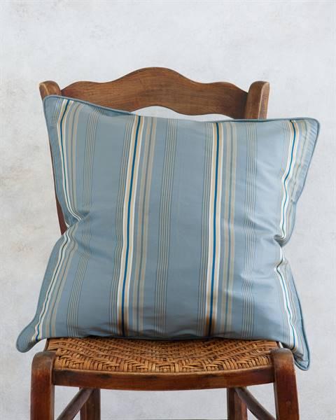 Streifenkissenhülle pastellblau - Faux Silk