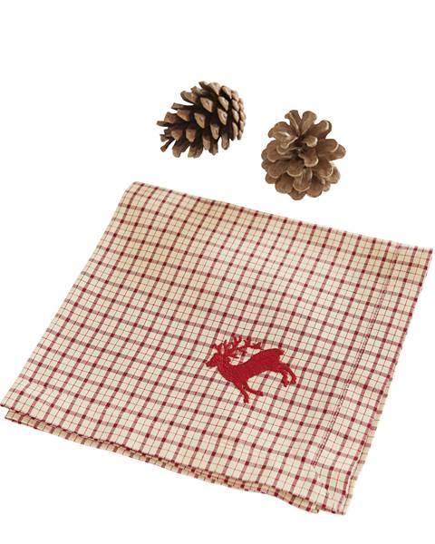 Serviette, kariert, handbestickt, weiche Baumwolle