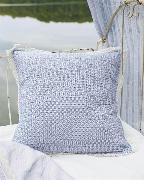 Kissenhülle blau-weiß mit Spitze, Baumwolle