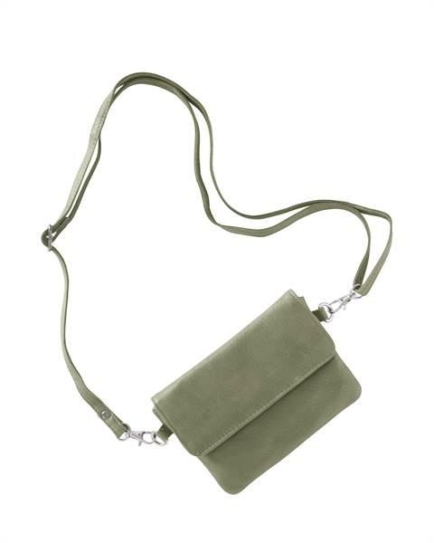 Lederumhängetasche, olivgrün