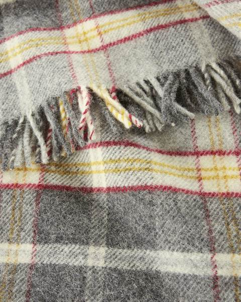 Plaid gelb-grau-rot kariert, Wolle