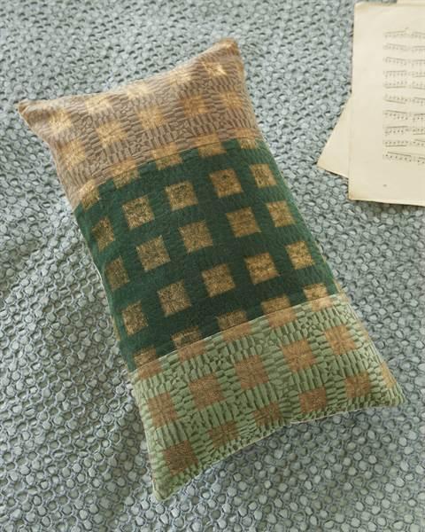 Samtkissenhülle Handstempeldruck, grüne Mitte, Baumwolle